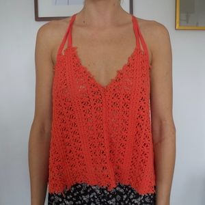 Free People Crochet Orange /Coral Strappy Tank Top